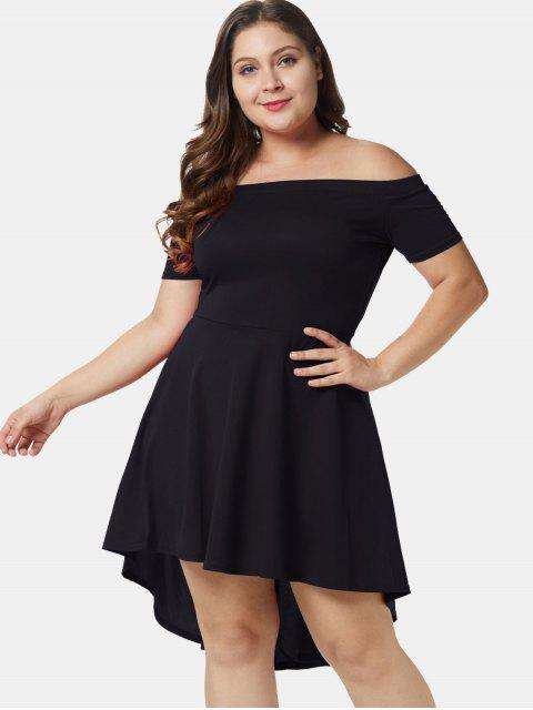 online Off Shoulder Plus Size A Line Asymmetric Dress - BLACK 3X Mobile