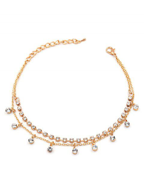new Rhinestone Embellished Anklet Chain - GOLD  Mobile