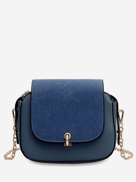 shop PU Leather Design Solid Color Crossbody Bag - BLUEBERRY BLUE  Mobile
