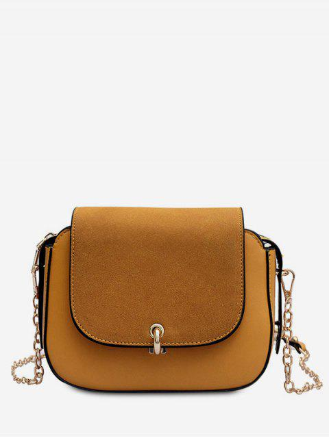 online PU Leather Design Solid Color Crossbody Bag - SANDY BROWN  Mobile