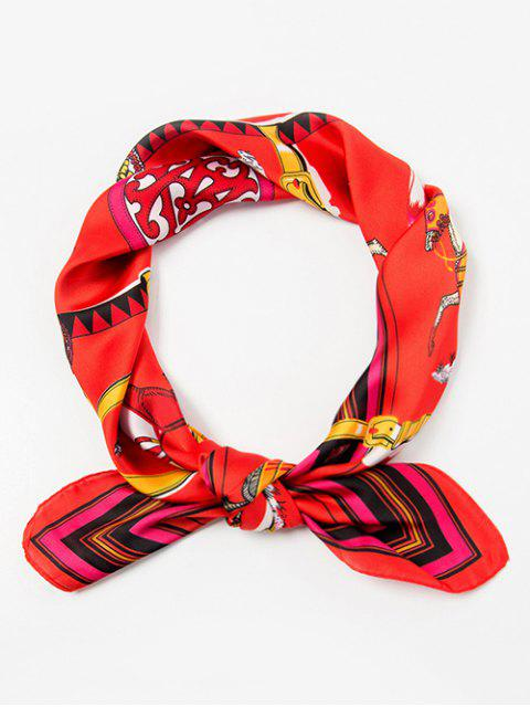 latest Running Horse Embellished Silky Scarf - RED  Mobile