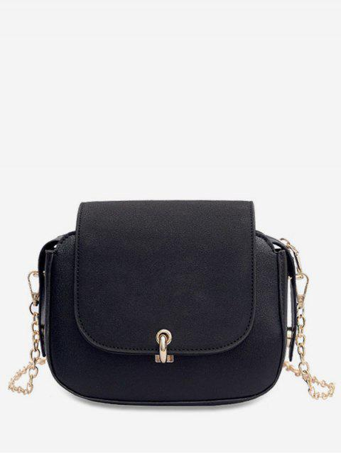 women PU Leather Design Solid Color Crossbody Bag - BLACK  Mobile