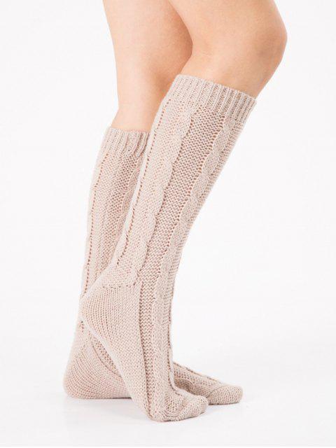 buy Solid Color Knitted Hose Socks - BEIGE  Mobile