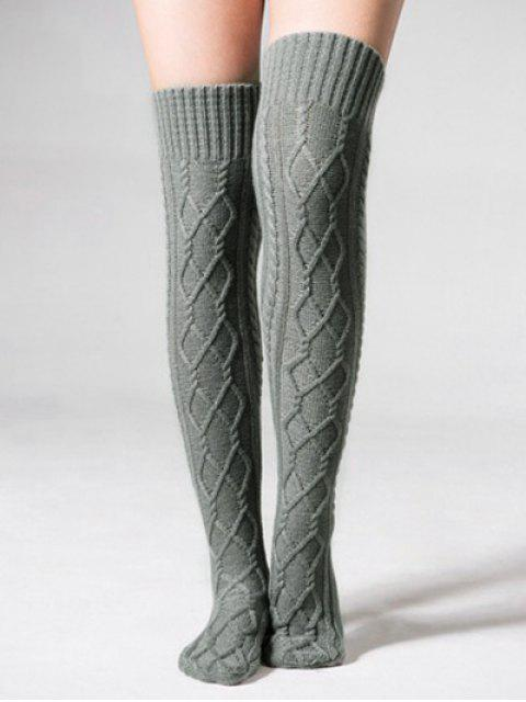 hot Solid Color Knitted High Knee Socks - GRAY  Mobile