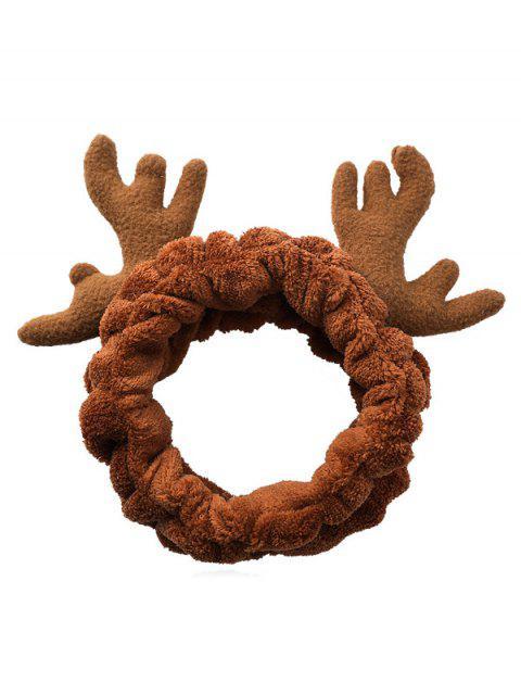 shops Christmas Antler Printed Fluffy Hair Band - DARK GOLDENROD  Mobile