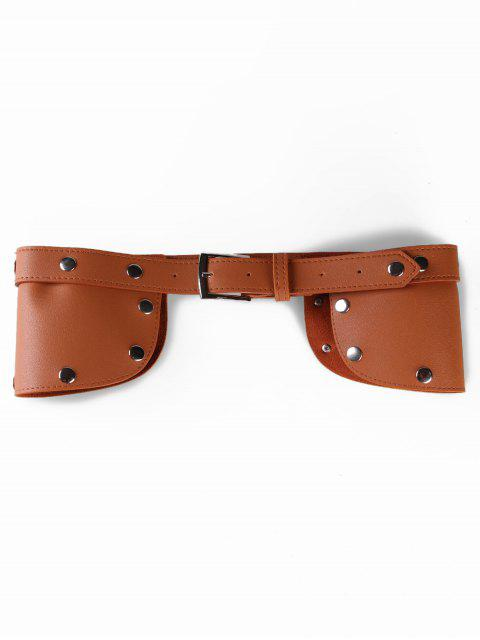 womens Stylish Rivets Faux Leather Wide Waist Belt - CAMEL BROWN  Mobile