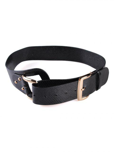 women's Stylish Snake Print Faux Leather Waist Belt - BLACK  Mobile