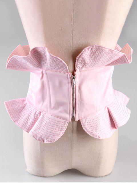 women's Vintage Zipper Elastic Wide Waist Belt - LIGHT PINK  Mobile