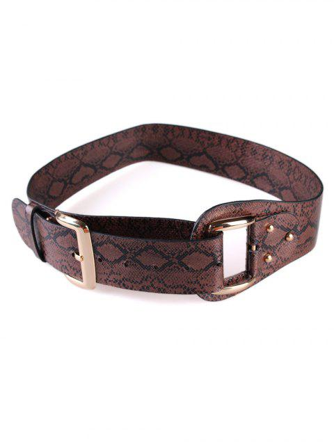 outfits Stylish Snake Print Faux Leather Waist Belt - COFFEE  Mobile
