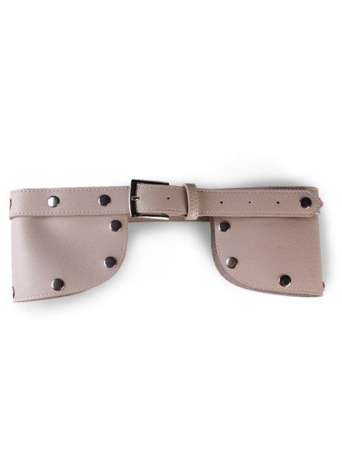 trendy Stylish Rivets Faux Leather Wide Waist Belt - KHAKI  Mobile