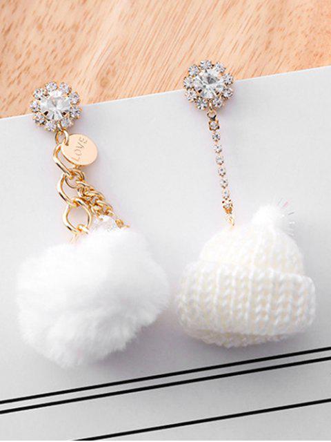 Boucles d'Oreilles Asymétriques Chapeau Tricoté Design en Strass - Blanc  Mobile