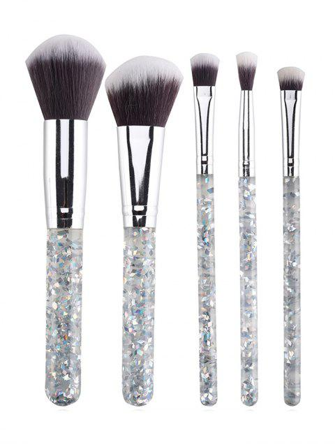 ladies Professional 5 Pcs Transparent Handles Travel Makeup Brush Set - TRANSPARENT  Mobile
