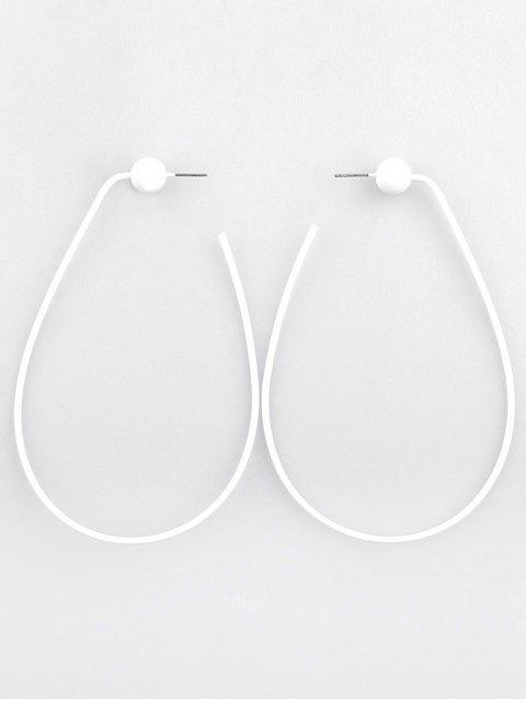 shops Geometric Design Oval Hollow Earrings - WHITE  Mobile