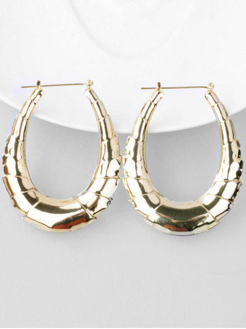 women Bamboo Alloy Hoop Drop Earrings - GOLD  Mobile