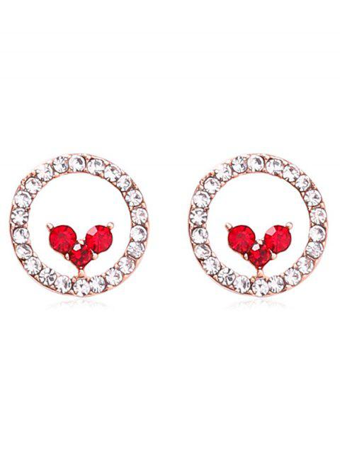fashion Sparkly Heart Shape Artificial Crystal Earrings - RED  Mobile