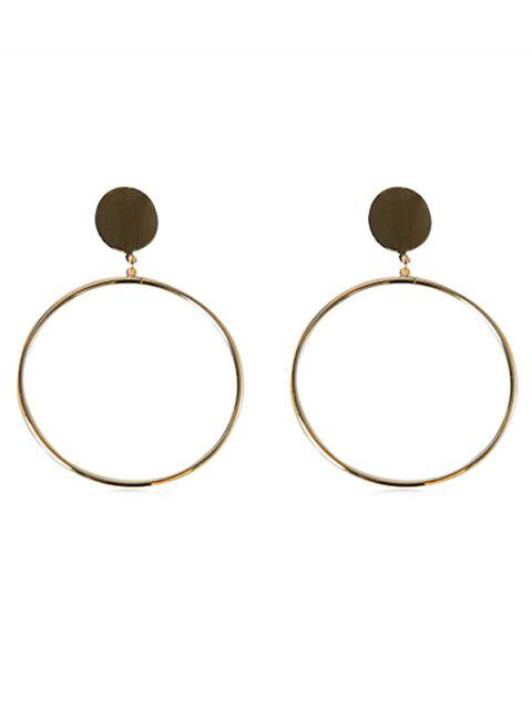 lady Alloy Circle Shape Hoop Earrings - GOLD  Mobile
