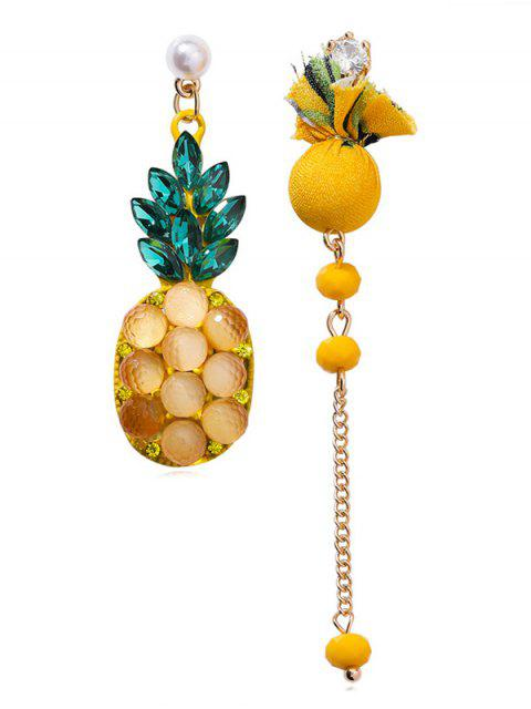 latest Asymmetry Design Pineapple Printed Rhinestone Earrings - YELLOW  Mobile