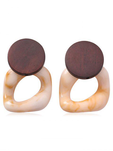 fancy Geometric Circle Shape Earrings - DEEP BROWN  Mobile