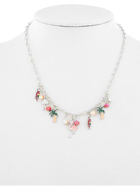 women's Fruit Plant Flamingo Design Ball Necklace - SILVER  Mobile
