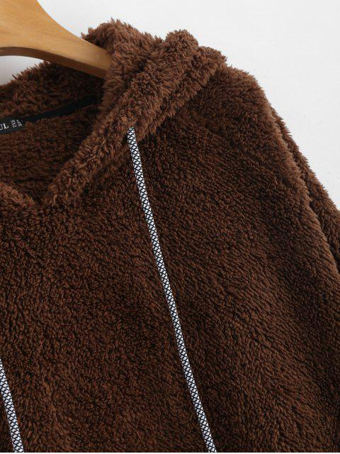 Sudadera con capucha de piel sintética lisa con bolsillo de canguro - Café S Mobile