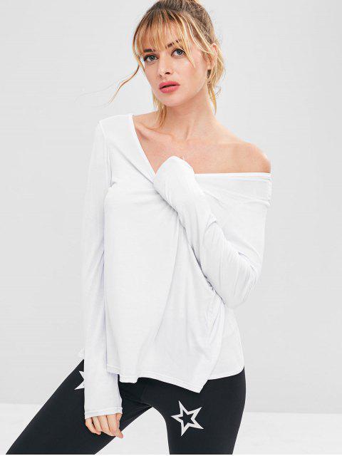 T-shirt Athlétique de Sport Fendu Sans Dos - Blanc L Mobile