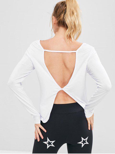 Camiseta deportiva sin espalda de hendidura - Blanco S Mobile