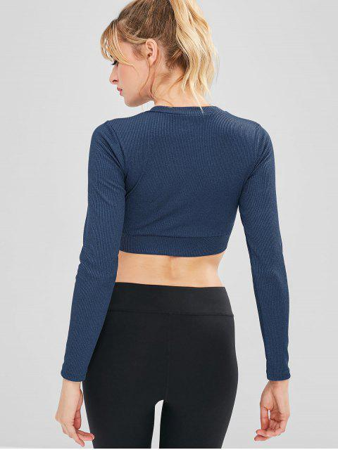 Sport Geripptes Crop Athletic Tee - Dunkles Schieferblau S Mobile