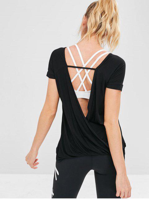 T-shirt de Sport de Gym Drapé Sans Dos - Noir L Mobile