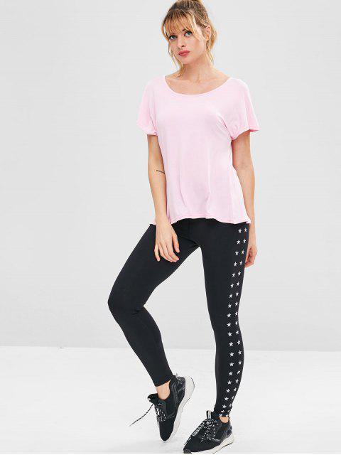 Athletic Slit Rückenfreies Sport T-Shirt - Rosa L Mobile