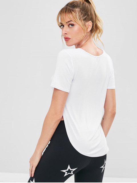 Camiseta deportiva de alta y baja - Blanco S Mobile
