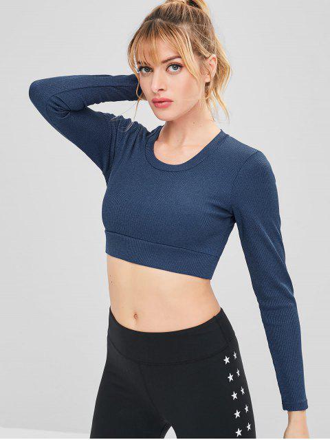 T-shirt Athlétique de Sport Court Côtelée - Ardoise bleue foncée L Mobile
