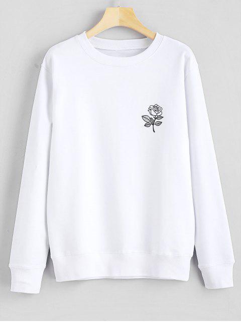 Sweat-shirt Graphique Floral Imprimé - Blanc M Mobile