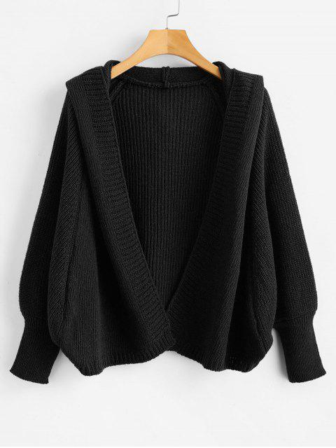 new Hooded Open Front Batwing Cardigan - BLACK ONE SIZE Mobile