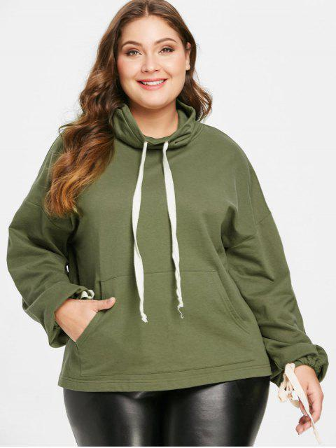 ladies ZAFUL Plus Size Pocket Drawstring Sweatshirt - ARMY GREEN 4X Mobile