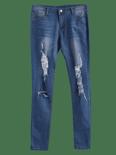 Vaqueros pitillo desgastados y con bigotes desgastados - Azul XL Mobile