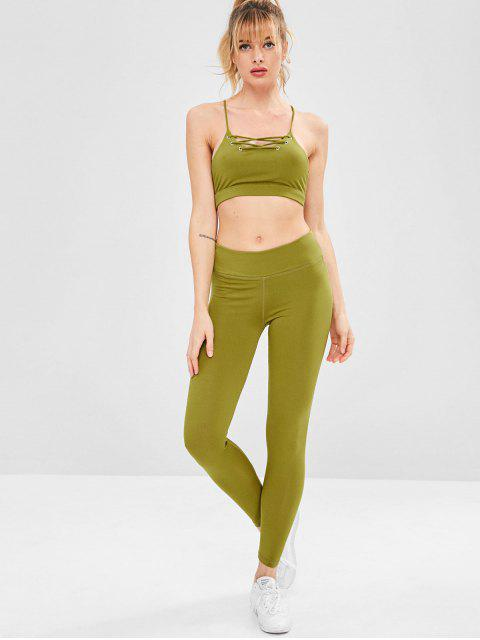 women's Strappy Gym Bra and Leggings Set - YELLOW GREEN L Mobile