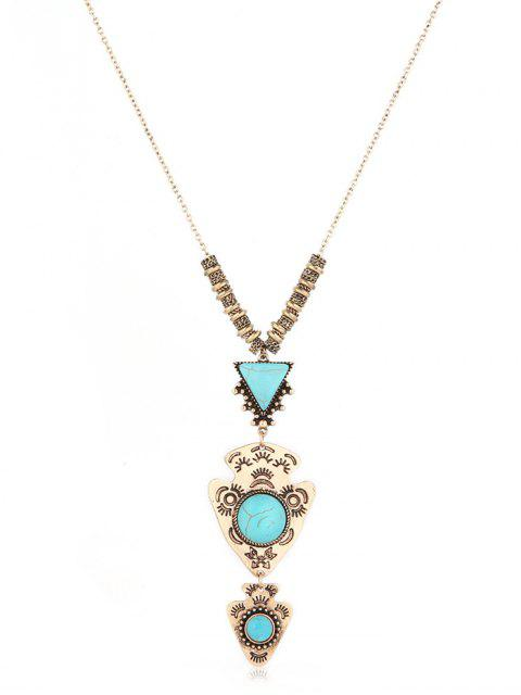 latest Geometric Layered Long Sweater Necklace - GOLD  Mobile