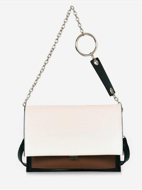 new Layered Design PU Leather Tote Bag - WHITE  Mobile