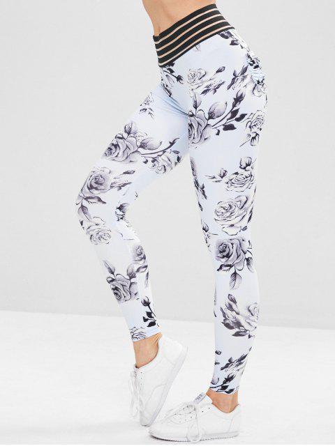 chic Sport Flower Print Workout Yoga Leggings - MULTI M Mobile