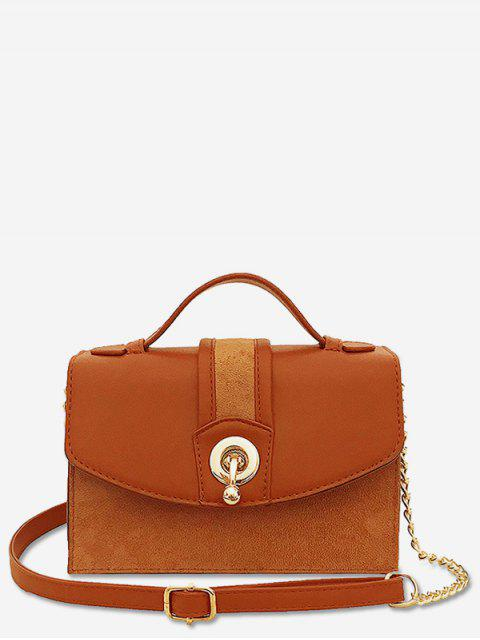 ladies Scrub Leather Metal Lock Design Crossbody Bag - BROWN  Mobile