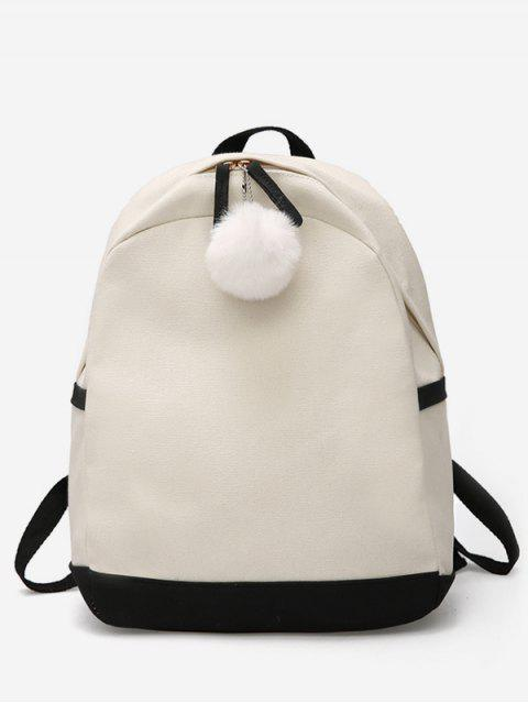 fancy Fluffy Ball Decoration Canvas School Backpack - BLACK  Mobile