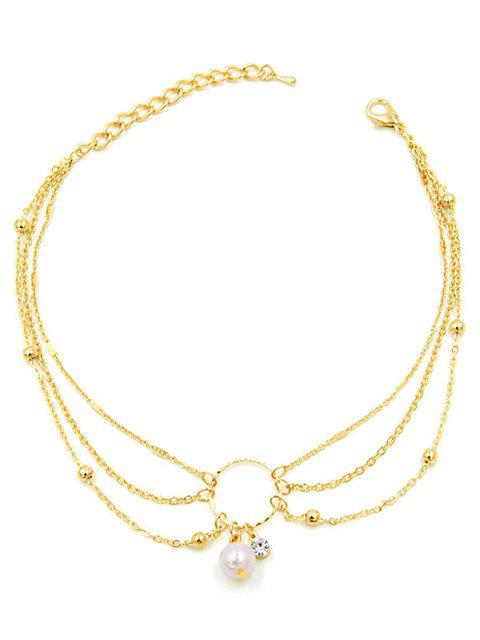 best Artificial Pearl Decor Multilayered Anklet - GOLD  Mobile