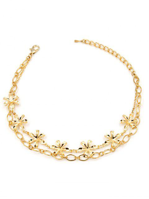 new Hollow Out Alloy Floral Design Anklet - GOLD  Mobile