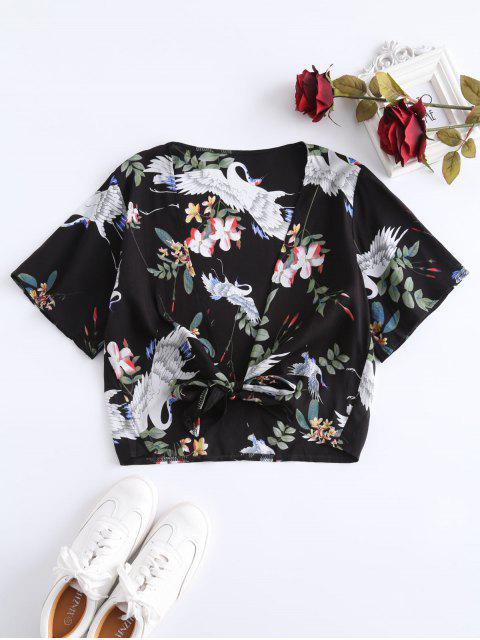 outfits Printed Tie Up Crop Top - BLACK L Mobile