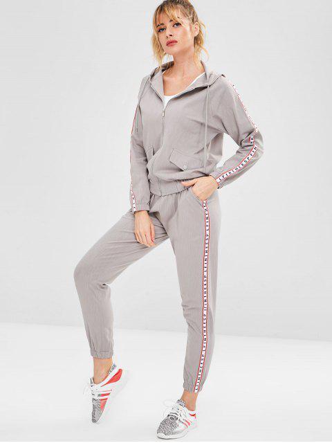 Hooded Sport Zip Jacke und Hose Set - Grau L Mobile