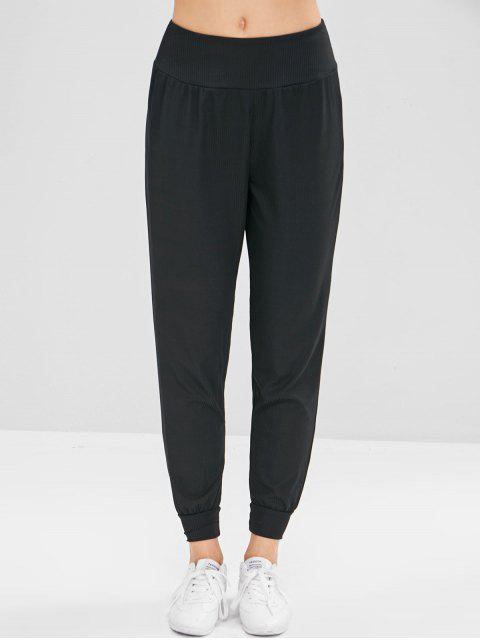 Pantalones de chándal acanalados - Negro M Mobile