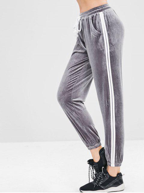 Pantalones de jogger a rayas con cordón de terciopelo - Gris M Mobile