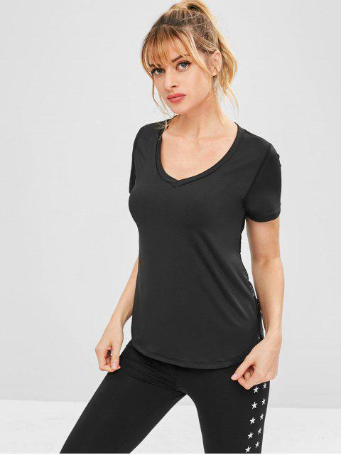 T-shirt de Sport Haut Bas Panneau en Dentelle - Noir L Mobile
