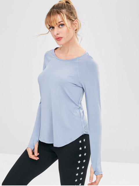 T-shirt Evidé à Manches Raglan Manchette avec Trou - Bleu-gris M Mobile
