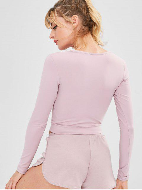 Twist Front Training Crop Tee - Rosa L Mobile